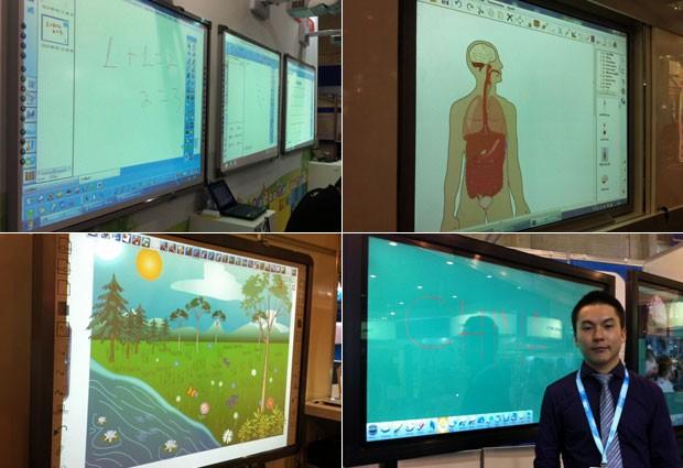 Modelos de lousa digital disponíveis na Feira Educar: infravermelho, touchscreen e acesso à internet (Foto: Ana Carolina Moreno/G1)