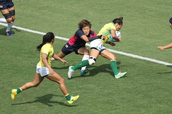 Paula Ishibashi, primeiro try do Brasil no rugby (Foto: Luiz Pires/Fotojump)
