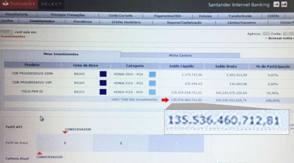 Carteira de investimentos de correntista do banco somava fortuna maior que a de Jorge Paulo Lemann (Foto: Reprodução)