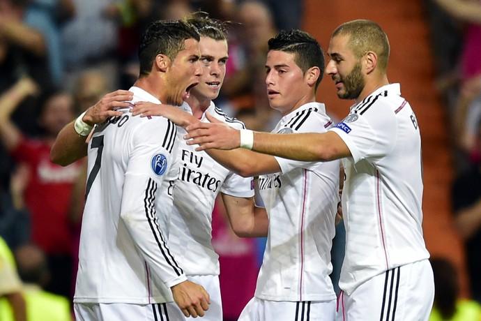 Real Madrid x Basel - Cristiano Ronaldo, Bale, Benzema e James Rodriguez (Foto: AFP)