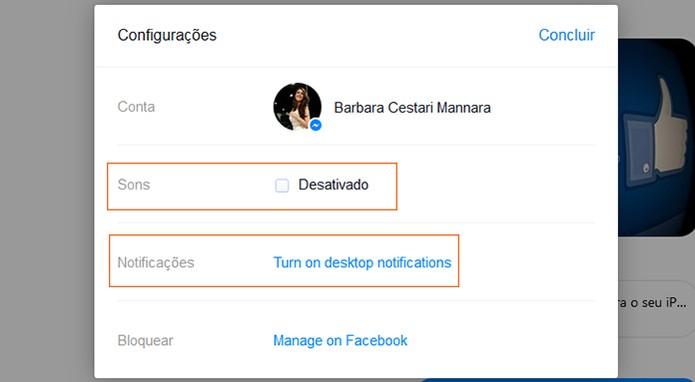 Desativando sons e notificações no Messenger Web (Foto: Reprodução/Barbara Mannara)