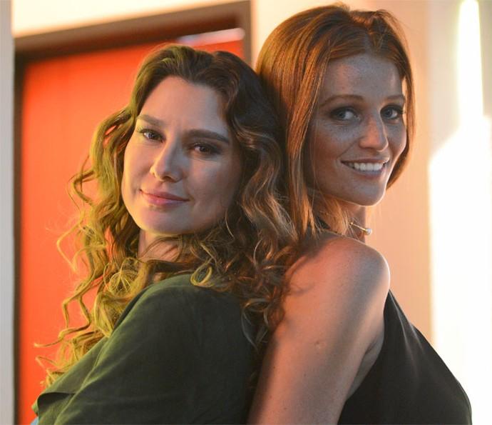 Durante sequência do concurso Garota TD+, a top gravou ao lado de Lavínia Vlasak (Foto: Pedro Carrilho/Gshow)