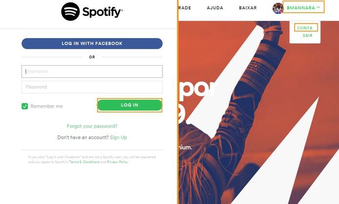 Acesse sua conta do Spotify (Foto: Reprodução/Barbara Mannara)