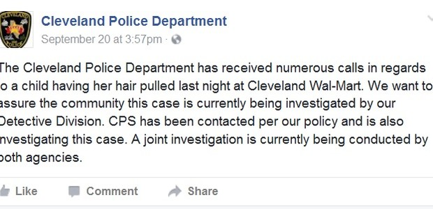 Postagem do Departamento de Polícia de Cleveland (Foto: Reprodução / Facebook)