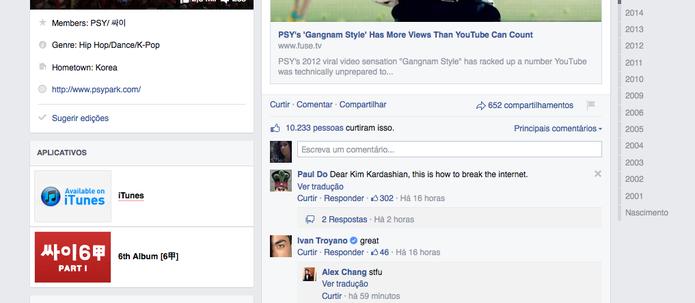 Fã de Gangnam Style provoca Kim Kardashian em comentário sobre como 'quebrar a Internet' (Foto: Reprodução/Facebook)