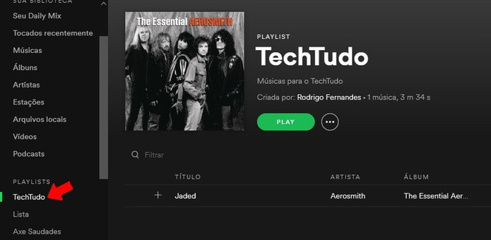 Acesse playlist no Spotify para Desktop (Foto: Reprodução/Rodrigo Fernandes)