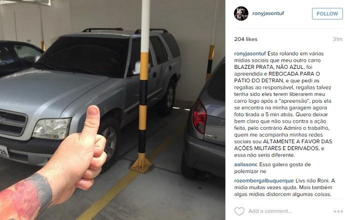 BLOG: Após recusar teste do bafômetro, Rony Jason posta foto de carro na garagem