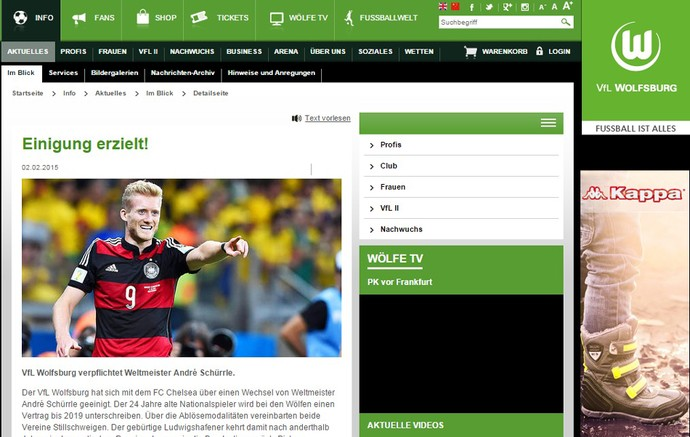 Schurrle é anunciado pelo Wolfsburg (Foto: Reprodução)
