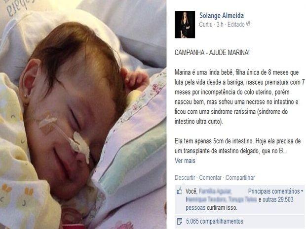 Publicação da cantora do Aviões do Forró teve mais de 20 mil curtidas em duas horas (Foto: Solange Almeida/Facebook)