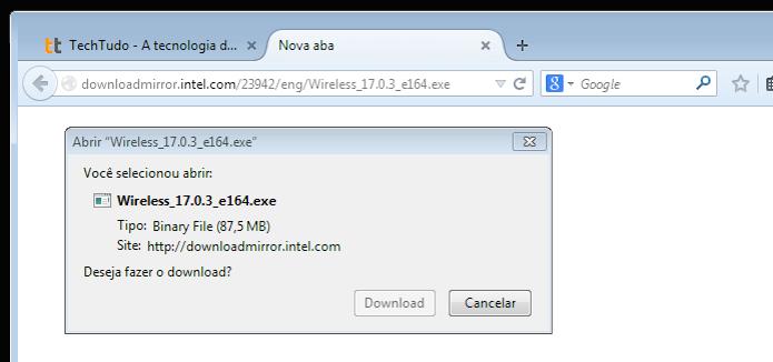 Faça o download do driver da Intel (Foto: Reprodução/Edivaldo Brito)