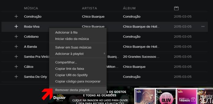 Removendo faixa duplicada na playlist (Foto: Reprodução/Lívia Dâmaso)
