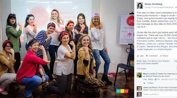 Sheryl Sandberg postou uma foto do grupo de mulheres de Curitiba (Foto: Reprodução Facebook)