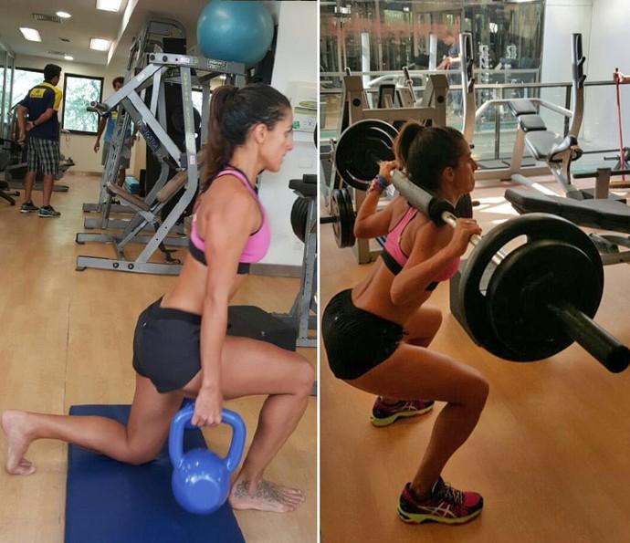 Carol pegando pesado nos exercícios (Foto: Arquivo Pessoal)