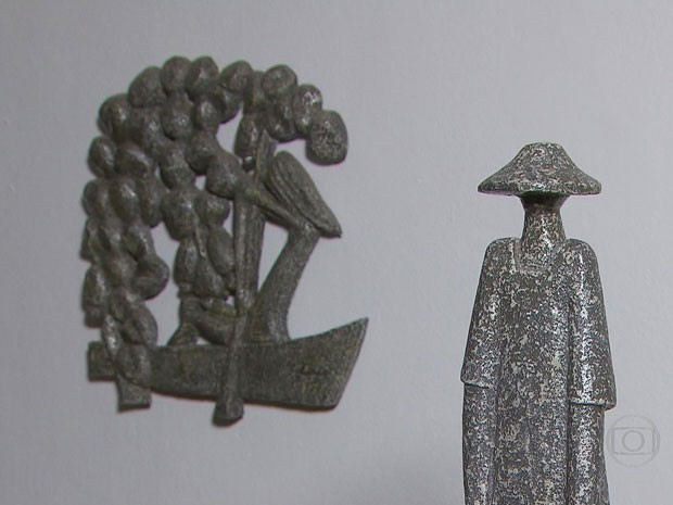 Obras de Corbiniano de várias épocas estão expostas no La Greca (Foto: Reprodução/TV Globo)