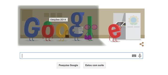 Eleições 2014, primeiro turno, é tema do Doodle do Google (Foto: Reprodução/Google)