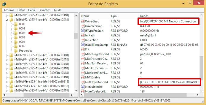 Localize a chave com os dados do adaptador de rede (Foto: Reprodução/Helito Bijora)