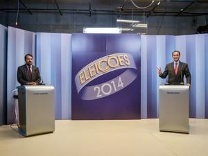 Os candidatos ao governo do Amapá Camilo Capiberibe (PSB) e Waldez (PDT) participam de debate realizado pela TV Amapá, em Macapá (Foto: John Pacheco/G1)