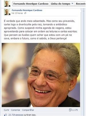 No facebook, ex-presidente Fernando Henrique Cardoso disse que está tratando diverticulite (Foto: Reprodução/Facebool)