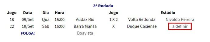 Ferj altera data do jogo entre Barra Mansa e Duquecaxiense (Foto: Reprodução/Site da Ferj)
