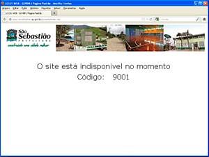 Portal da transparência da Prefeitura de São Sebastião, indisponível. (Foto: Reprodução)