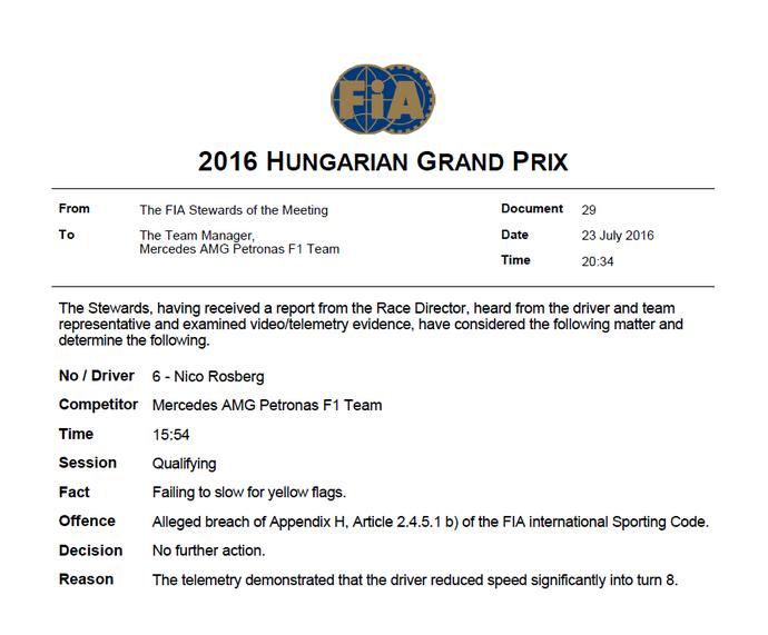 Comunicado da FIA sobre Nico Rosberg na Hungria (Foto: Divulgação)
