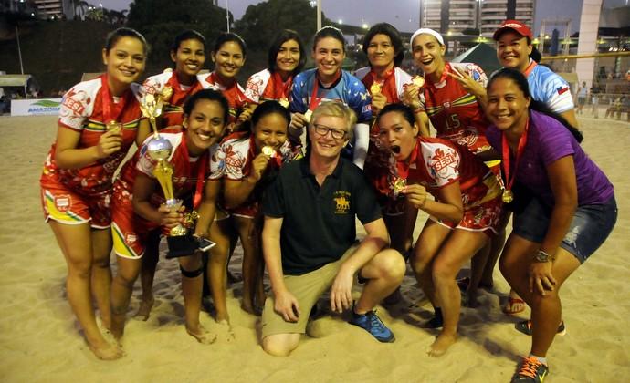 Salcomp foi campeã feminina da Copa Beach Soccer (Foto: Antônio Lima/Semjel)