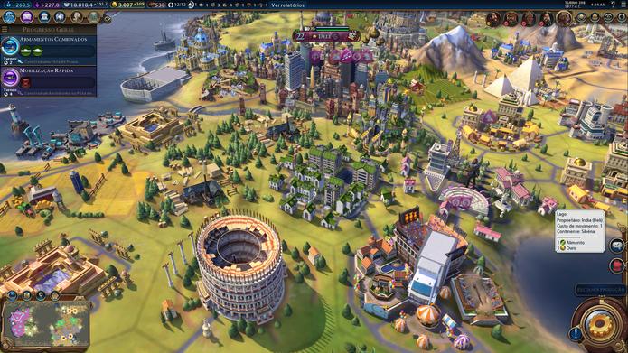 Cidades ficaram bonitas e complexas em Civilization VI (Foto: Reprodução / Caio Fagundes)