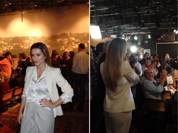 Cléo Pires chega para a coletiva de imprensa e é surpreendida com parabéns (Foto: Salve Jorge/TV Globo)
