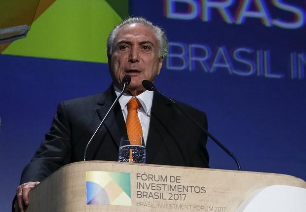 O presidente Michel Temer durante evento Fórum de Investimentos 2017 em SP (Foto: Marcos Correia/PR)