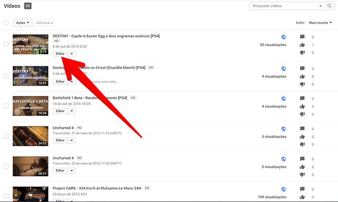 Escolha o vídeo que deseja para ocultar os dislikes e clique em Editar (Foto: Reprodução/Filipe Garrett)