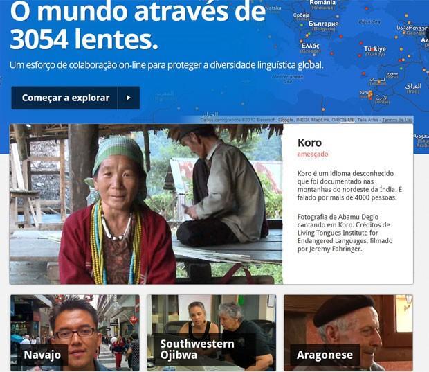 Site permite consultar, compartilhar e adicionar informações sobre idiomas que estão sumindo (Foto: Reprodução)