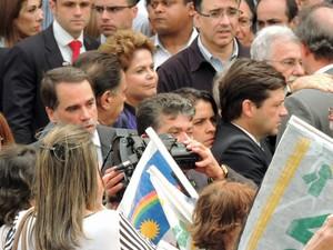 A presidente Dilma Rousseff durante o velório de Eduardo Campos (Foto: Lucas Liausu/Globoesporte.com)