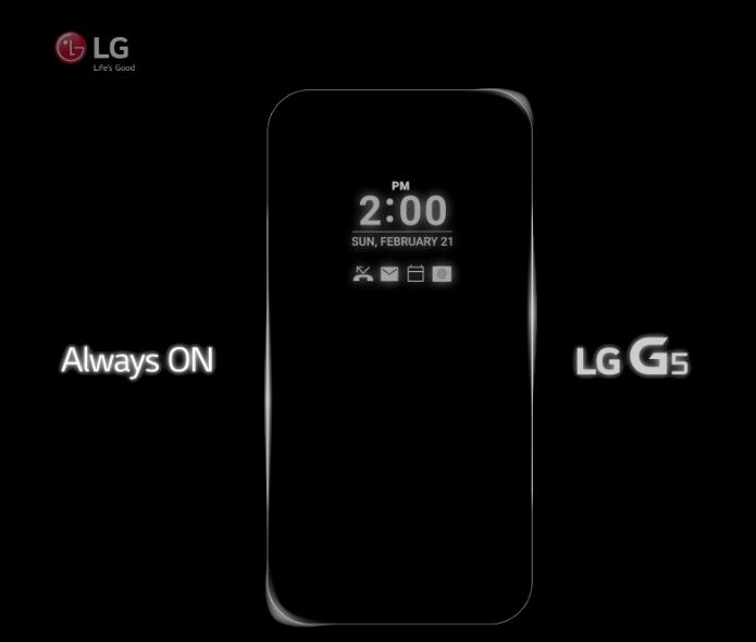 Imagem da LG mostra tela do G5 que nunca desliga (Foto: Reprodução/LG)
