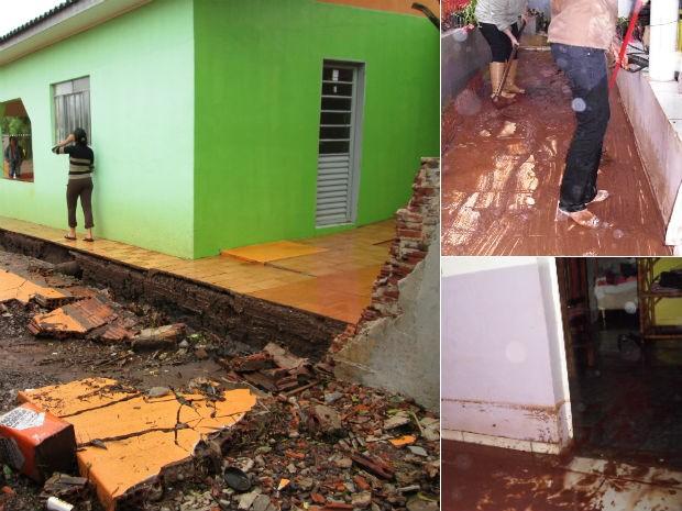 A forte chuva que caiu na tarde desta quinta-feira (31), em Cascavel, no oeste do Paraná, causou estragos em um bairro da cidade. Várias casas foram invadidas pelo barro. Em uma residência, o muro despencou com a força da água. De acordo com o Corpo de Bombeiros, foram atendidos diversos chamados de alagamentos. Os Bombeiros e a Defesa Civil do município não souberam precisar o número de ocorrências. Segundo o Instituto Tecnológico (Simepar), durante duas horas, choveu 70 milímetros, o que equivale a 50% da média de todo o mês.   (Foto: Cleusa de Oliveira e Argeu Almeida/ RPC TV)