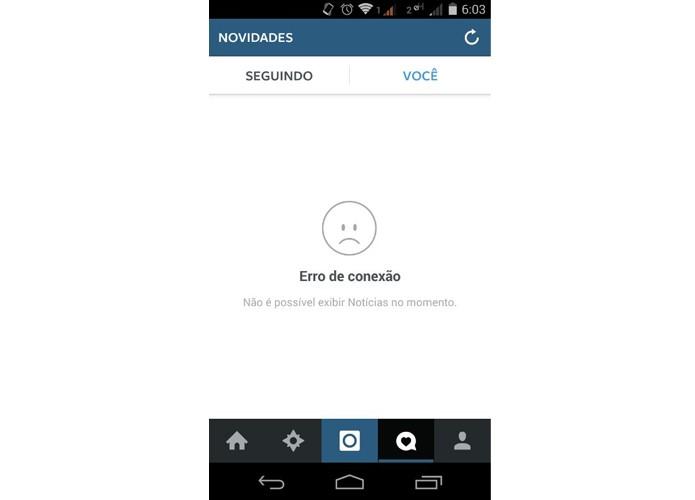 Instagram sai do ar e atinge usuários brasileiros (Foto: Reprodução/Matheus Vasconcellos)