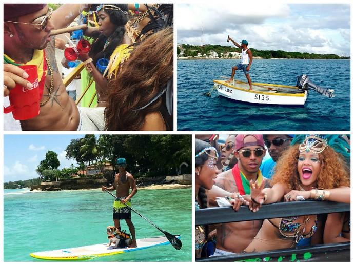 Carnaval em Barbados,  stand up paddle ao lado do buldogue Roscoe e passeou de barco: as férias de Lewis Hamilton (Foto: Reprodução / Instagram e Twitter)
