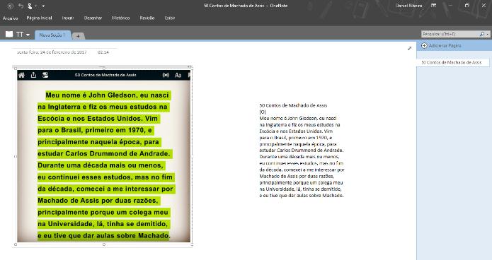 O OneNote tem um ótimo recurso OCR para extrair textos de imagens em anotações (Foto: Reprodução/Daniel Ribeiro)