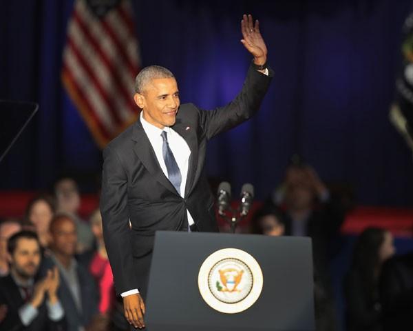 Barack Obama em seu discurso final (Foto: Getty Images)