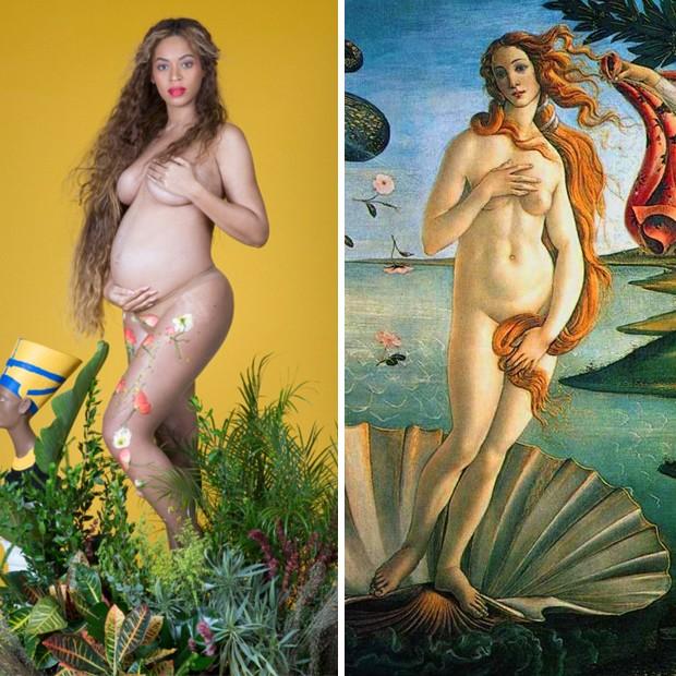 """Beyoncé e o quadro """"O Nascimento de Vênus"""" (Foto: Reprodução)"""