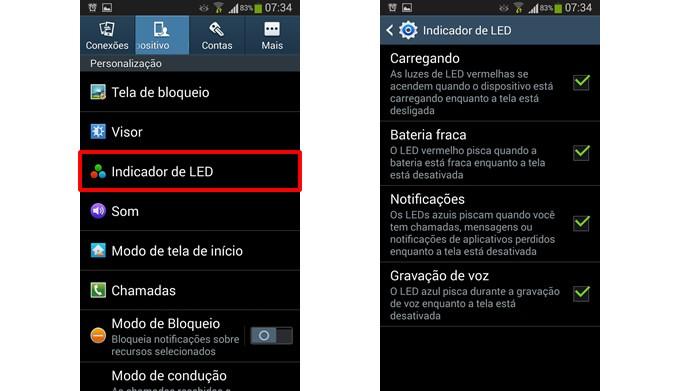 Veja e configure as notificações luminosas padrões do Android (Foto: Reprodução/Daniel Ribeiro)