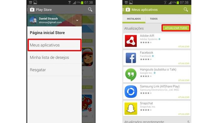 Atualize os aplicativos baixados pelo Play Store (Foto: Reprodução/Daniel Ribeiro)