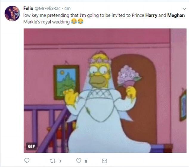 Meme com Homer Simpson relacionado ao casamento do Príncipe Harry (Foto: Reprodução/Twitter)