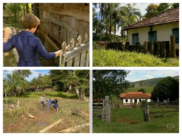 Fotos feitas em zona rural de Pontalina, onde a ministra Delaíde Arantes morou até os 14 anos; na primeira imagem, ela abre porteira do sítio; na segunda, casa da família; na terceira, ela percorre caminho por córrego, como na adolescência; na quinta, outra visão da casa (Foto: TV Globo/Reprodução)