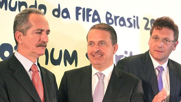 Aldo Rebelo e Jerome Valcke em evento da Copa 2014 Confederações (Foto: Fabrício Marques / Globoesporte.com)