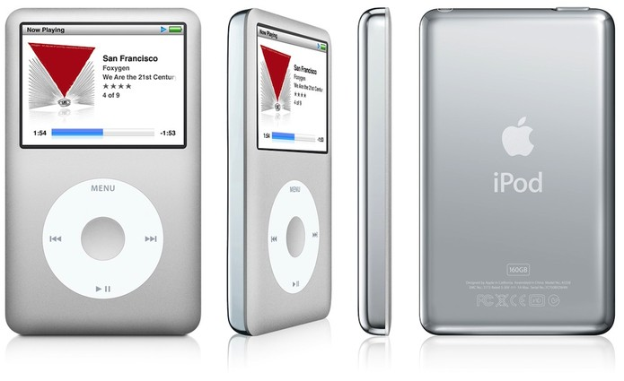 iPod Classic oferece tela e botões para controle das músicas, mas está fora de linha (Foto: Divulgação/Apple)