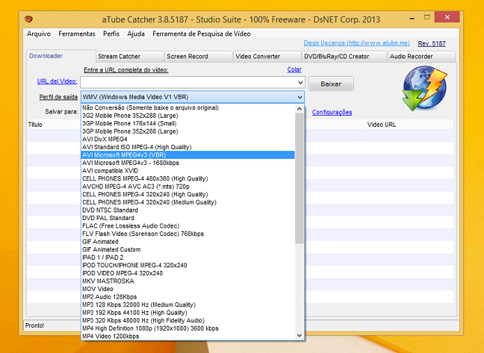 aTube Catcher é compatível com muitos serviços e formatos (Foto: Aline Jesus/TechTudo)