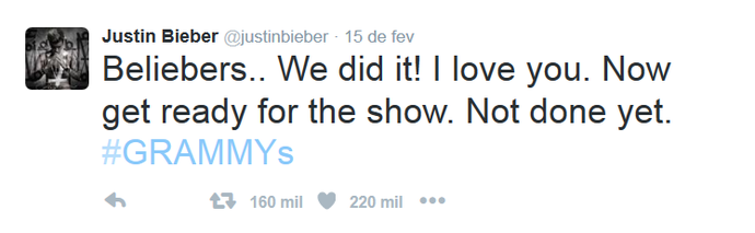 Justin Bieber agradece aos fãs: Nós conseguimos! Eu amo vocês.  (Foto: Reprodução internet)