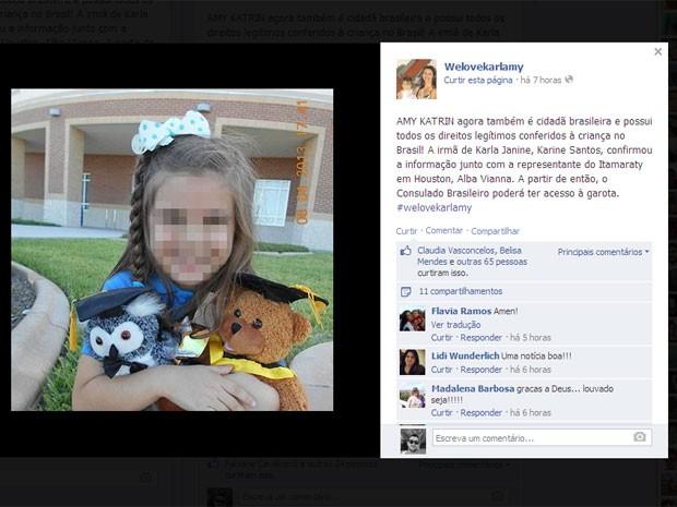 Criança está sob os cuidados de representantes do Department of Children and Families (DCF), espécie de conselho tutelar norte-americano (Foto: Reprodução / Facebook)