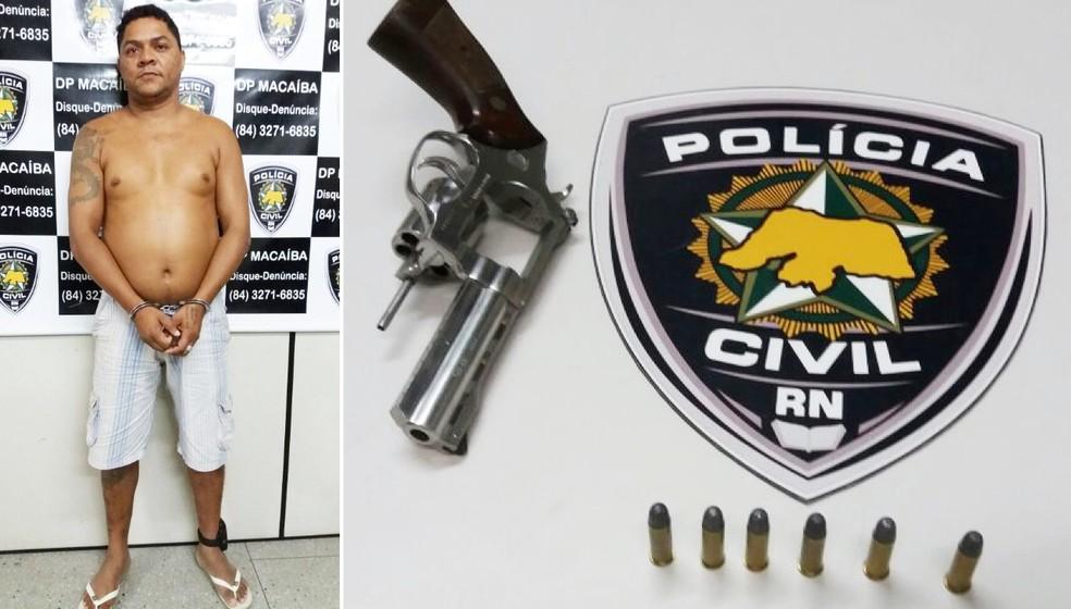 Um revólver calibre 38 foi apreendido com o suspeito  (Foto: Divulgação/Polícia Civil )