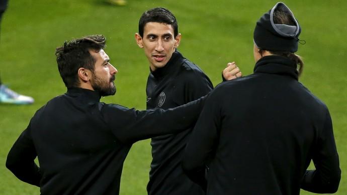 Ibrahimovic, Di María e Lavezzi - treino PSG (Foto: Reuters)